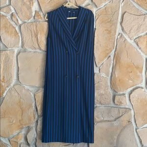Zara Blue and Black front Button Dress